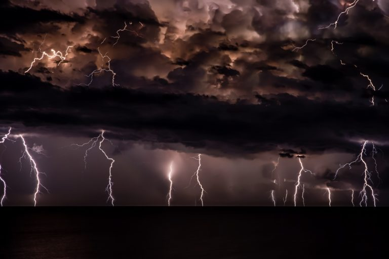 thunderstorm with dark clouds