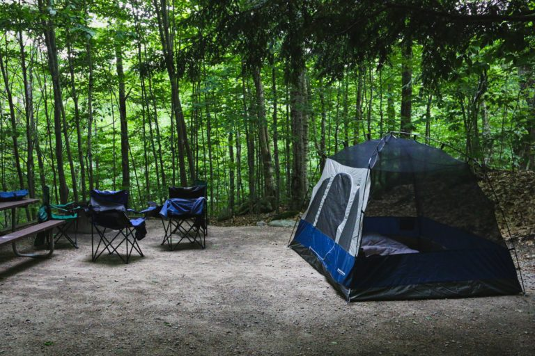 blue and white dome tent and camping chairs surrounded by trees